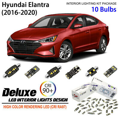 8 Blubs Xenon White LED Interior Light Kit For Hyundai Elantra 2016-2017 AD