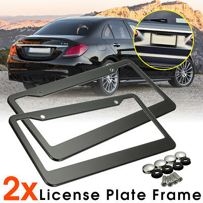 2 pcs Metal Stainless Steel License Plate Frames W/ Screw Caps Tag Cover Black