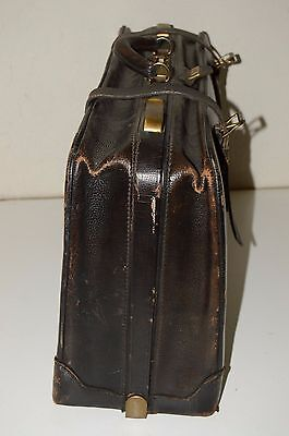Antique Gladstone Long Wear Doctors Lawyers Briefcase Brown Leather Bag HIPSTER