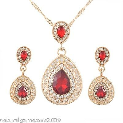 Gold Plated NEW Fashion Chic Drop Earrings Necklace Jewelry Set 42.5cm
