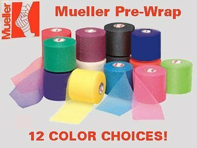 """4 Rolls Mueller Athletic Pre-Wrap 2-1/2"""" X 30 Yards 12 COLOR CHOICES"""