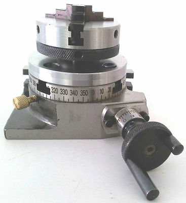 """Rotary Table Horizontal & Vertical 3""""/75mm w/65mm Lathe Chuck for Milling Machin"""