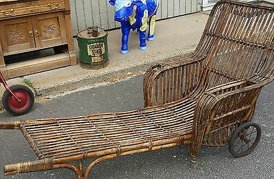 Antique Rattan Chaise Lounge Reed Style Drink Holder Magazine Rack