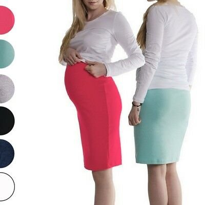 Maternity Pregnancy Knee Length Pencil Black Skirt S/m L/xl Xxl/xxxl