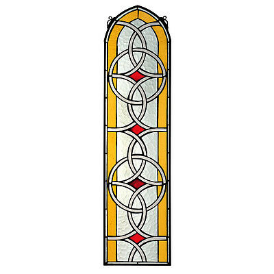"""35"""" Gothic Arch Celtic Knot Symmetric Design Stained Glass Window Panel Art"""