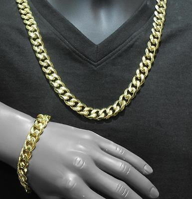 "Stainless Steel Mens Miami Cuban Necklace Bracelet 31"" Gold Finish Chain Link"