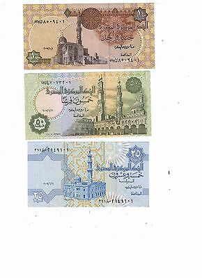 Set of 3 Pieces Egypt 25,50 Pt and 1 L.E Egypt Paper Money ((UNC))