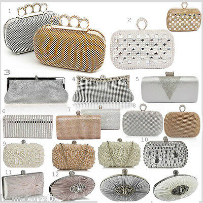 Ladies Womens Party Clutch Bag Hand Silver Ivory Wedding Xmas Diamante New