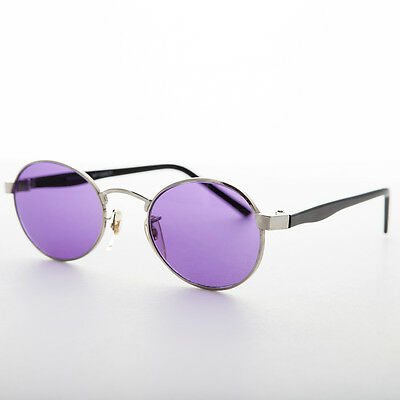 Oval Colored Lens Vintage Metal Combo Sunglass NOS Purple/Silver/Black -HIPSTER