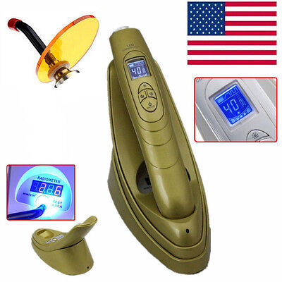 Dental Wireless 1800MW LED Lamp Curing Light With Light Meter Golden---US STOCK