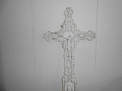 Cast Iron Antique 19Th Century Crucifix Or Cross.