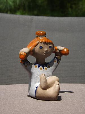 "Pippi Langstrump Dorothy Clough Upsala Ekeby Sweden Girl Figurine 3 3/4"" Tall"