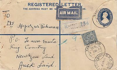 Stamps India pre-printed registered cover uprated sent airmail New Zealand