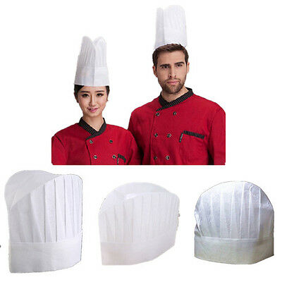 5 PC Hot White Men Baker New Elastic Cap Non-woven Hat Catering Kitchen Chef