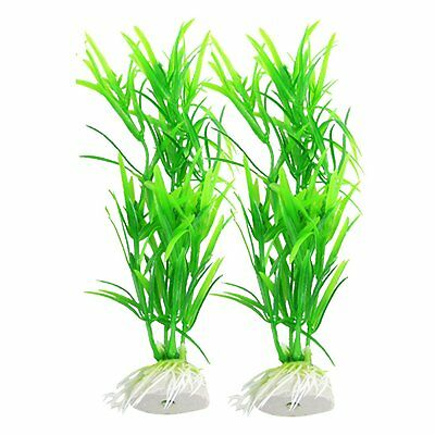 "Plastique Vert 6.7 ""plantes d'aquarium reservoir de poisson Herbe Decor 2Pcs"