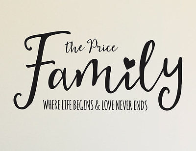 Bright Star Kids Family Last Name Wall Art Decor Decals - Where Love Never Ends