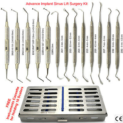 Advanced Dental Sinus Lift Mushroom Elevators Periosteal Scaler Implant+Cassette