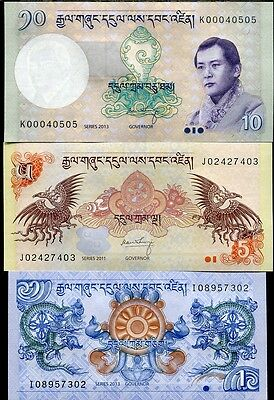 Bhutan Set 3 Pcs 1 5 10 Ngultrum 2011 - 2013 P 27 28 29 Unc