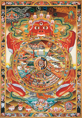 Buddhist Thangka - Printed Bhavacakra Samsara - Wheel of Life Brocade Scroll