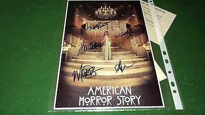 AMERICAN HORROR STORY hotel CAST BY 5 SIGNED PHOTO COA