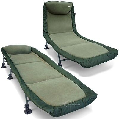 Carp Fishing Bed Chair Bedchair 6 Adjustable Legs Pillow Camping