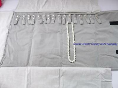 Portable Jewelry Roll  Necklace Travel Storage Displays Holder 16 Chain Grey