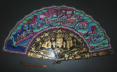 Fine Antique Chinese Export Gold Lacquer Hand Painted Court Figural Scene Fan