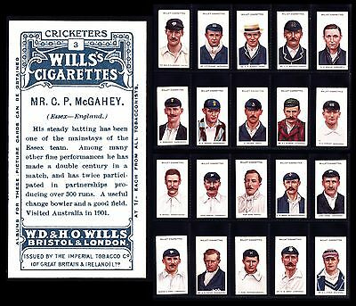 """Full £375 Set Of 50 Wills CRICKETERS 1908 Small """"s"""" Cigarette Cards - Great Set"""
