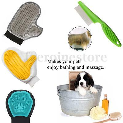 Pet Dog Cat Grooming Glove Bath Cleaning Massage Hair Removal Brush Comb Rakes