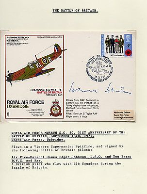 Hand Signed RAF Battle of Britain 1971 FDC by Johnnie Johnson