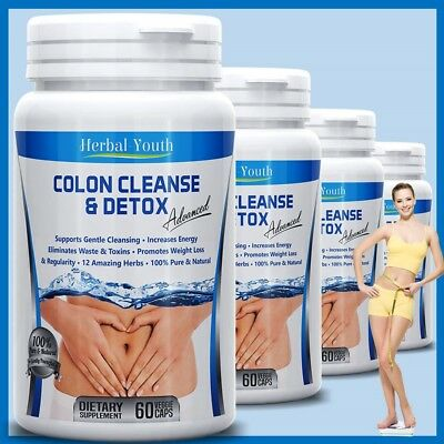 COLON CLEANSE CAPSULES 2000mg DAILY WEIGHT LOSS DIET DIETARY FIBER DETOX PILLS