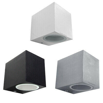 Modern Stainless Steel Mini Cube Single Up or Down Outdoor Wall Light GU10