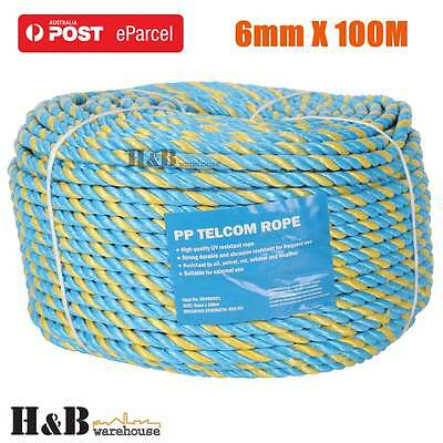 6mm x 100M Telstra Rope Parramatta Rope Coils Breaking Strength 595 KG T0241