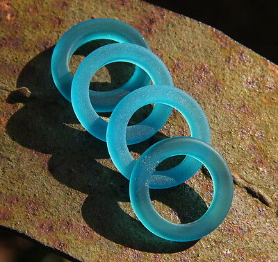 2 pcs.~23 mm ~TEAL~ Sea Glass Round Rings~ 2 PIECES