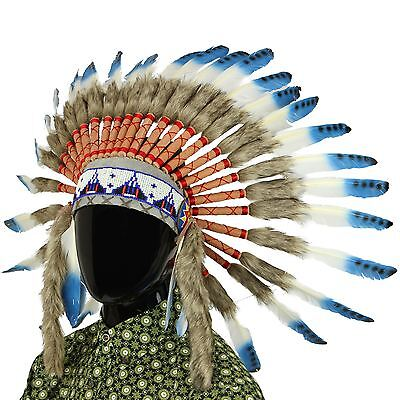 Headdress Chief Fancy Dress Native American Indian Feathers Hat Cap BLUE