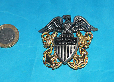 Us Navy Officers Full Regulation Sized Cap Badge.