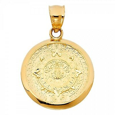 14K Yellow Gold Calendario Azteca Pendant GJPT1565
