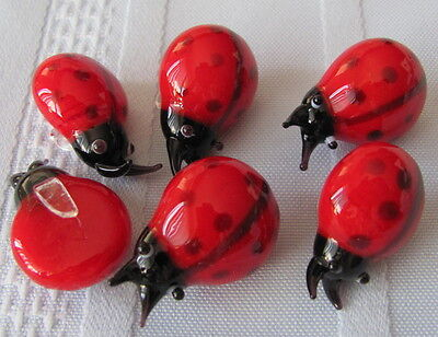 Lot of 6 Glass Ladybugs with glass clips -add to the leaf leaves of your plants