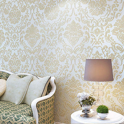 10m Floral 3D Embossed Textured Non-woven Flocking Wallpaper Wall Paper Rolls