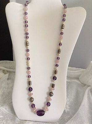 Beautiful Vintage Purple Pink Pearl Glass And Metal Bead Necklace
