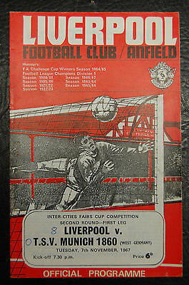 Liverpool V Tsv Munich 1860 Fairs Cup 1967 Official Programme