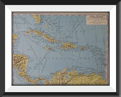 West Indies Vintage Map c1960 Original Perfect For Framing - m1