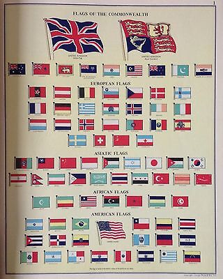 Flags Of The World Vintage c1960 Original Perfect For Framing - r2