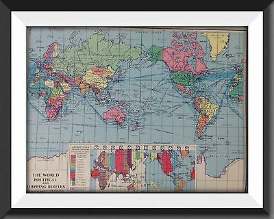 The World (political & Shipping Routes) Vintage Map c1960 Perfect For Framing m1