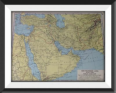 Asia South West Nile Valley Vintage Map c1960 Original Perfect For Framing - m1