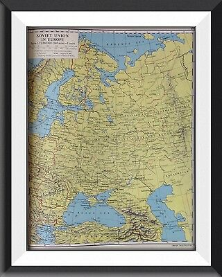 The Soviet Union In Europe Vintage Map c1960 Original Perfect For Framing - m1