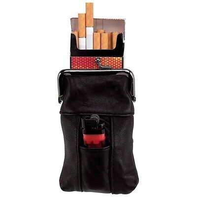 New Black Leather Cigarette Case Tobacco Holder Lighter Pocket Clip Close Top