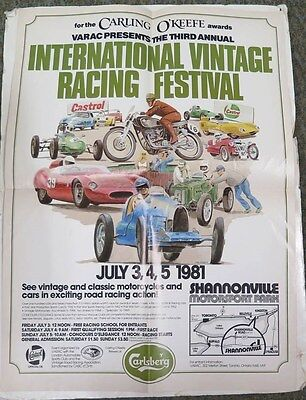 1981 Shannonville Canada Vintage Car Motorcycle Race Poster Lotus Bugatti ww1966