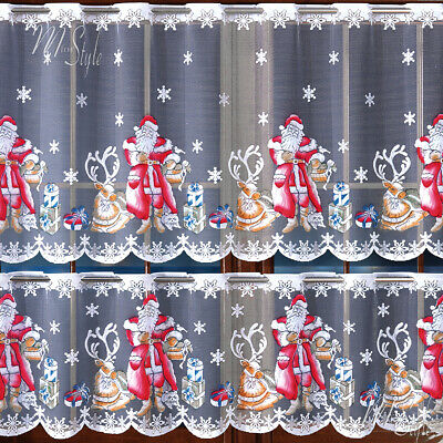 "Cafe Net Curtain Christmas Santa Pattern 19.5"" and 27.5"" Drop SOLD BY THE METRE"