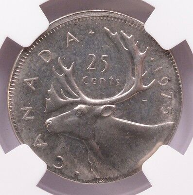Canada NGC 25c 1975 Quarter on Nickel Planchet MS-64